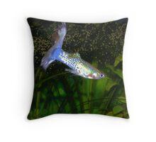 Blue Guppy Throw Pillow