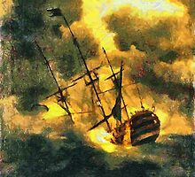A digital painting of HMS Victory launched 1737, wrecked 1744  by Dennis Melling