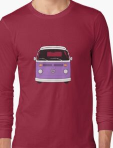 Late Bay VW Camper Purple Front Long Sleeve T-Shirt