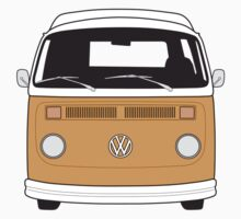 Late Bay VW Camper Orange Front by splashgti