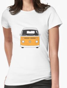 Late Bay VW Camper Orange Front Womens Fitted T-Shirt