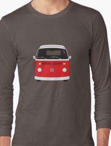 Late Bay VW Camper Red Front Long Sleeve T-Shirt