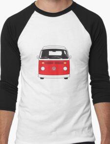 Late Bay VW Camper Red Front Men's Baseball ¾ T-Shirt