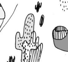Cactus Mountain black&white Sticker