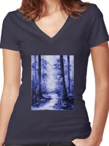 The Magic Forest 1.1  Women's Fitted V-Neck T-Shirt