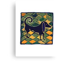 DOG KITCHEN CERAMIC TILES FLOOR Canvas Print