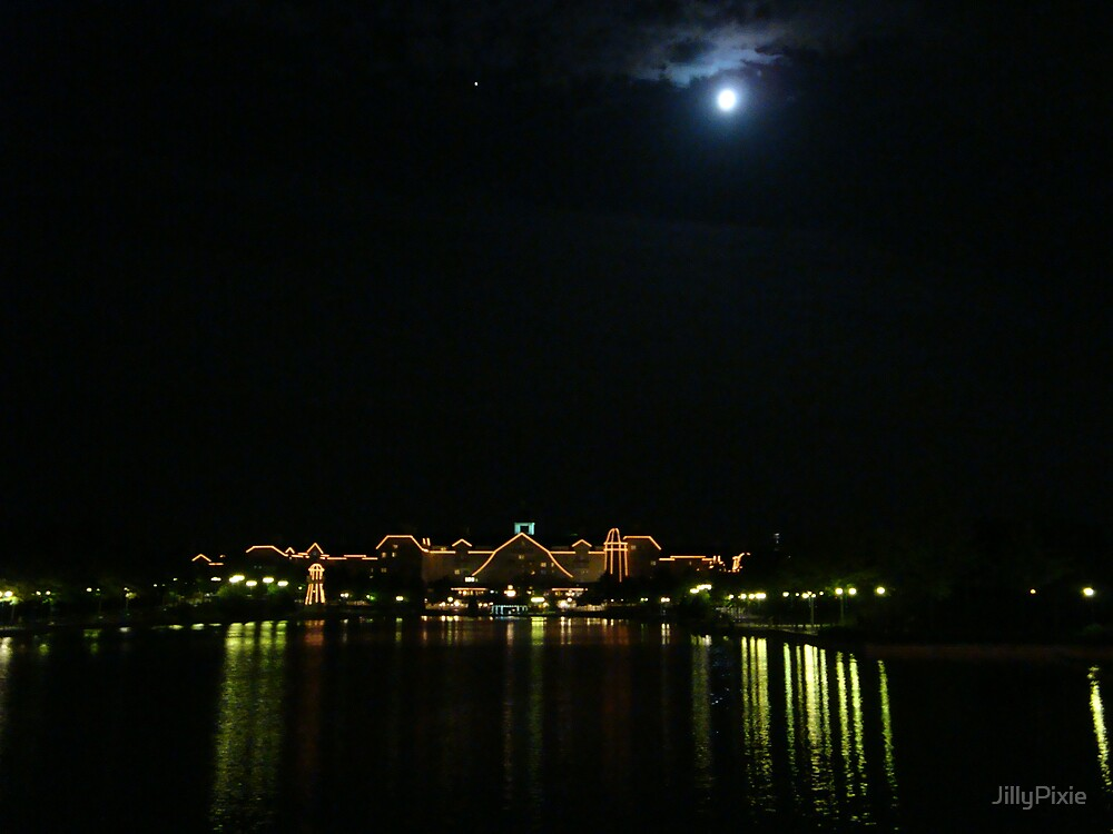 Newport Bay Hotel & Lake Disney by Night by JillyPixie