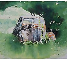 Scrapped Car Resting Beside a Tree by Andrew Lyon