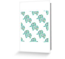 watercolor floral patterned elephant seamless pattern Greeting Card