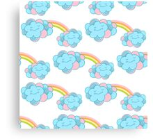 Vector seamless pattern with the clouds and rainbow Canvas Print