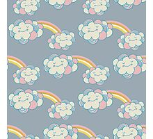 Vector seamless pattern with the clouds and rainbow Photographic Print