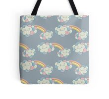 Vector seamless pattern with the clouds and rainbow Tote Bag