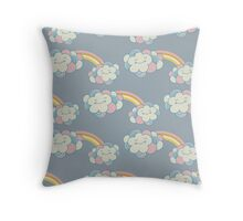 Vector seamless pattern with the clouds and rainbow Throw Pillow
