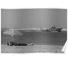 sunbathing in Sancti Petri Poster