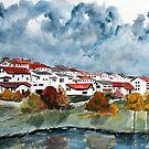 Italian landscape watercolour cityscape painting by derekmccrea