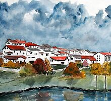 Italian landscape watercolour cityscape painting by derekmccrea