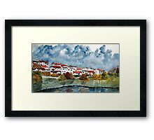 Italian landscape watercolour cityscape painting Framed Print