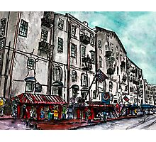 Savannah Georgia USA watercolour  and ink cityscape drawing Photographic Print