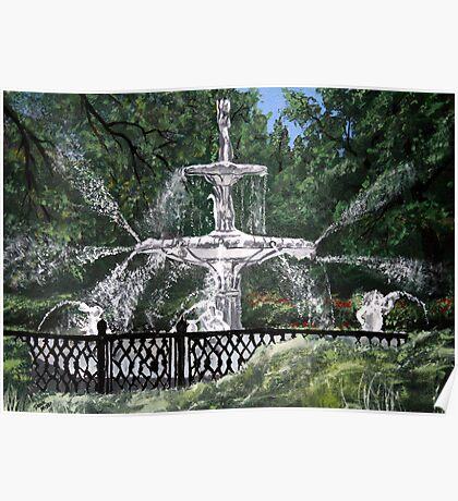 forsyth fountain acrylic painting Poster