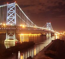 Night Lights of the Ben Franklin Bridge by CarolLeesArt