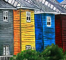 beach houses acrylic painting modern art by derekmccrea