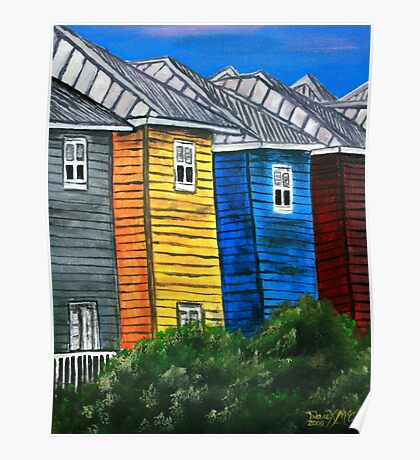 beach houses acrylic painting modern art Poster