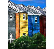 beach houses acrylic painting modern art Photographic Print