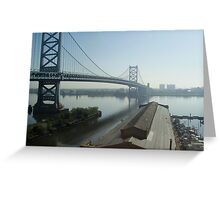 Mid-day Ben Franklin Bridge, Philly Greeting Card