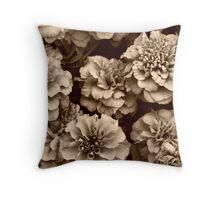 Sepia Marigolds Throw Pillow