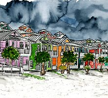 beach houses watercolour painting modern art by derekmccrea