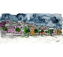 beach houses watercolour painting modern art Photographic Print