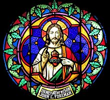 Jesus Scared Heart Stained Glass by muniralawi