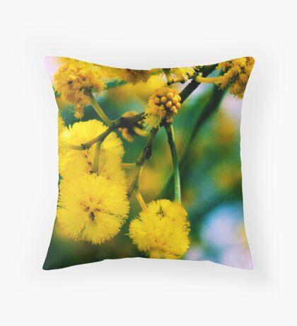 Yellow Wattle Throw Pillow