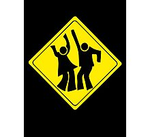 DANCERS CROSSING WARNING ROAD SIGN Photographic Print
