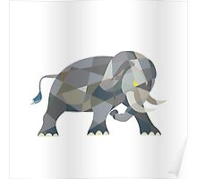 Elephant Attacking Side Low Polygon Poster