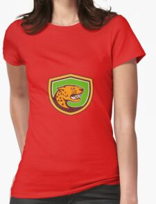 Jaguar Head Side Growling Shield Retro Womens Fitted T-Shirt