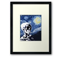 Skull with burning cigarette on a Starry Night Framed Print