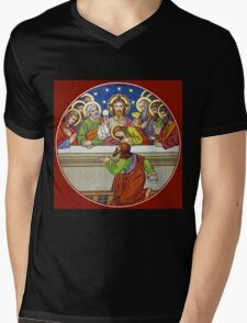 Last Supper Stained Glass Mens V-Neck T-Shirt