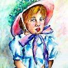 Little girl in water color by Claude Dia