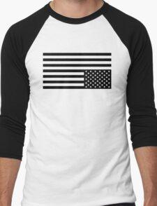 Black On White Men's Baseball ¾ T-Shirt