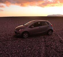 Black Beach Car in Sunset by Johan Dahlberg