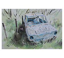 Scrapped Hillman Imp with Butterfly Photographic Print