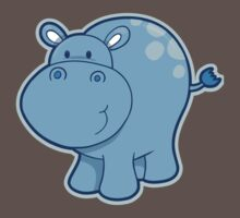 Sweet blue hippo One Piece - Short Sleeve