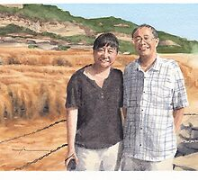 couple at yellow river watercolor by Mike Theuer