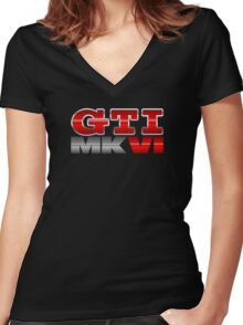 VW GTI MK6 Icon Women's Fitted V-Neck T-Shirt