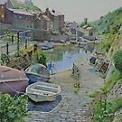 View across The Beck at Staithes by Graham Clark