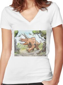 Happy Triceratops Women's Fitted V-Neck T-Shirt