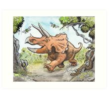 Happy Triceratops Art Print