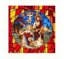 Jesus Birth Stained Glass Art Print