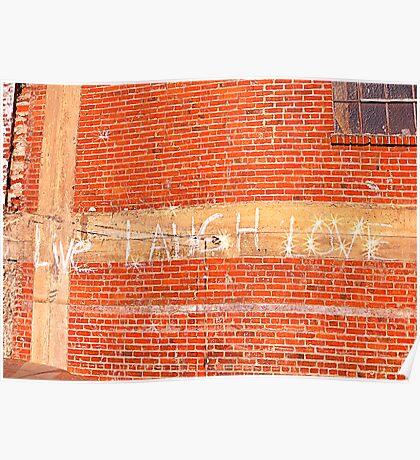 Live Laugh Love Brick Building Poster